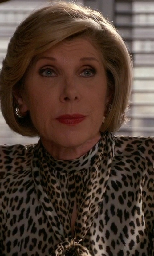 Christine Baranski with Haider Ackermann Animal Print Loose Blouse in The Good Wife