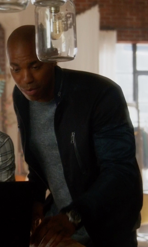 Mehcad Brooks with Your Neighbors Marius Leather Bomber Jacket in Supergirl