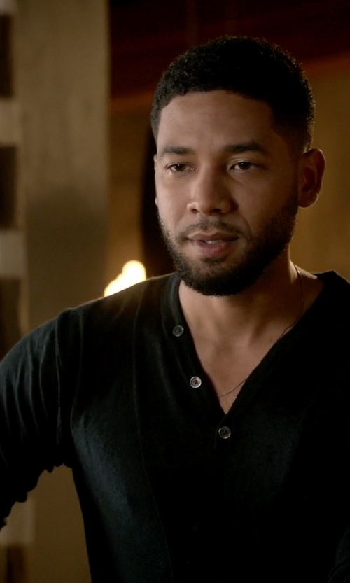 Jussie Smollett with Pierre Balmain Viscose & Fine Wool Jersey Henley Tshirt in Empire