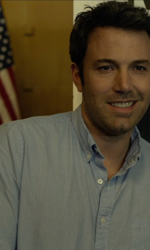 Ben Affleck with Boss Hugo Boss 'Miles' Sharp Fit End-on-End Dress Shirt in Gone Girl