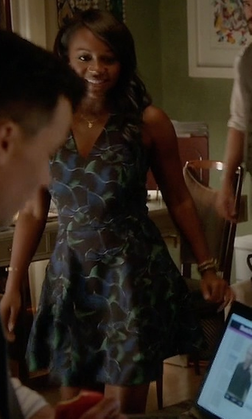 Aja Naomi King with Kenzo Abstract Print Skater Dress in How To Get Away With Murder