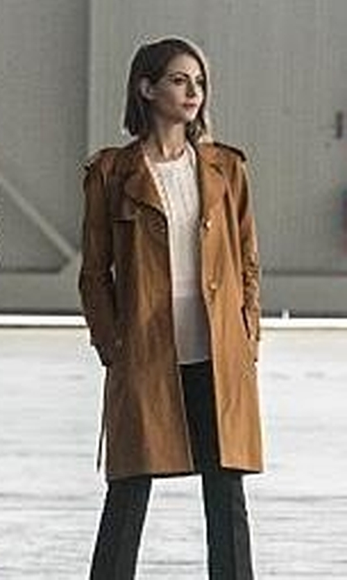 Willa Holland with Sandro 'Malory' Trench Coat in The Flash