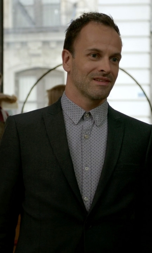 Jonny Lee Miller with Calvin Klein Two-Button Blazer in Elementary