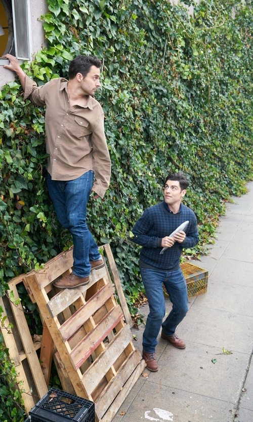 Max Greenfield with Bonobos Merino Houndstooth Crewneck Sweater in New Girl