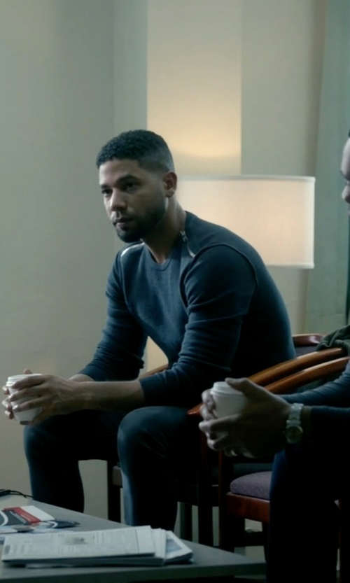 Jussie Smollett with The Kooples Zip Shoulder Cotton Crewneck Sweater in Empire