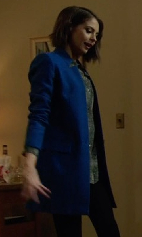 Willa Holland with Stella McCartney Single Breasted Textured Wool Jacket in Arrow