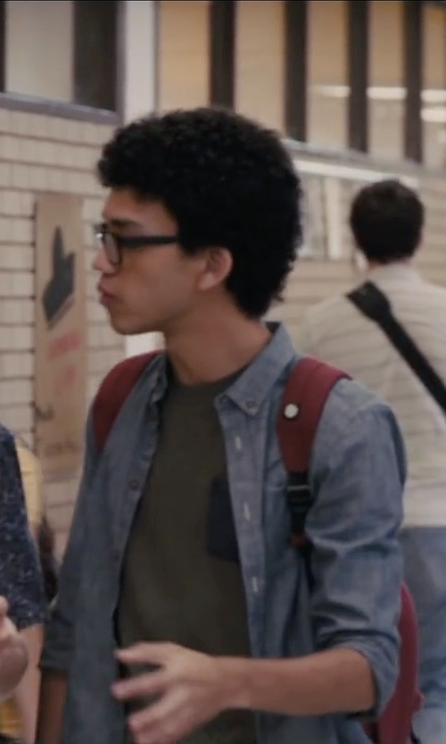 Justice Smith with Herschel Heritage Red Backpack in Paper Towns