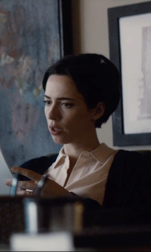 Rebecca Hall with A.P.C. Chantal V-Neck Cardigan in The Gift