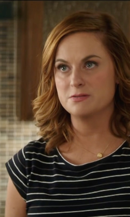 Amy Poehler with Joie Adelise Striped Cap-Sleeve Linen T-Shirt in The House