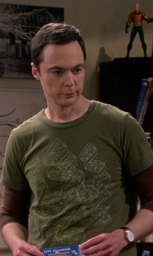 Jim Parsons with BabbleTees DNA T-Shirt in The Big Bang Theory