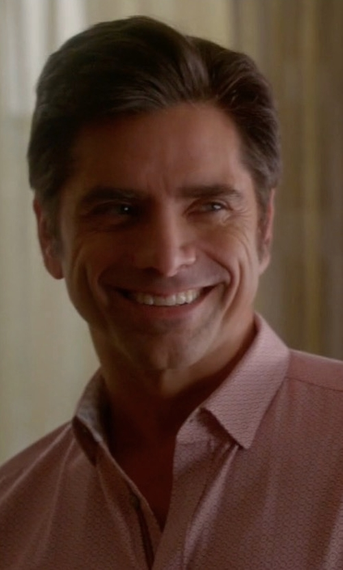 John Stamos with Eton Contemporary-Fit Chain-Stitch Print Dress Shirt in Scream Queens