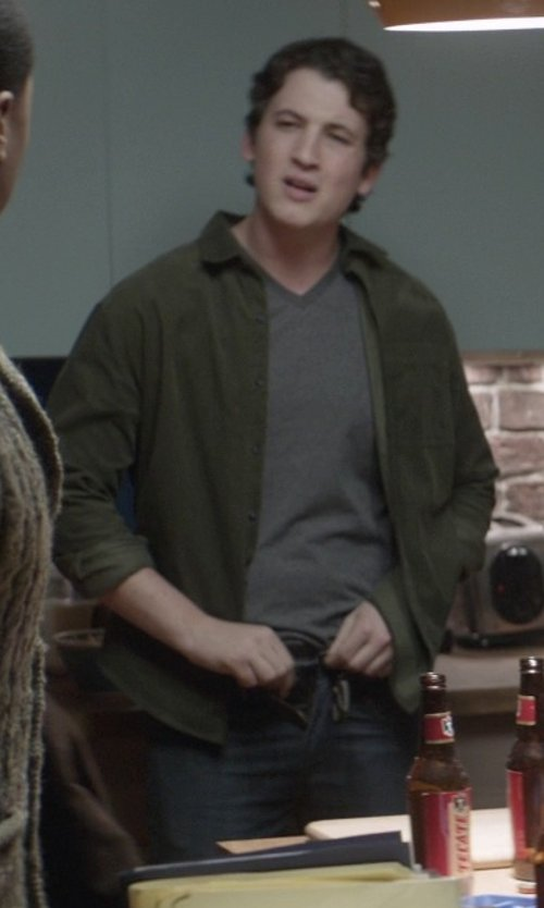 Miles Teller with 7 For All Mankind Standard Cut Straight Leg Jeans in That Awkward Moment