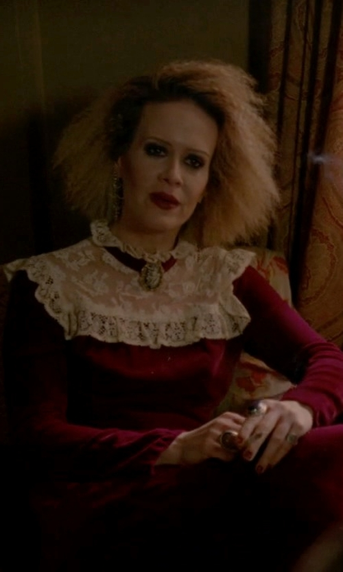 Sarah Paulson with Fancy Dress Store Lace Floor-Length Gothic Victorian Dress in American Horror Story