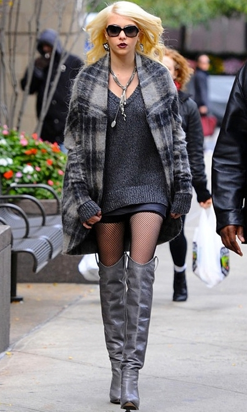 Taylor Momsen with Tania Spinelli Over the Knee Tab Boots in Gossip Girl