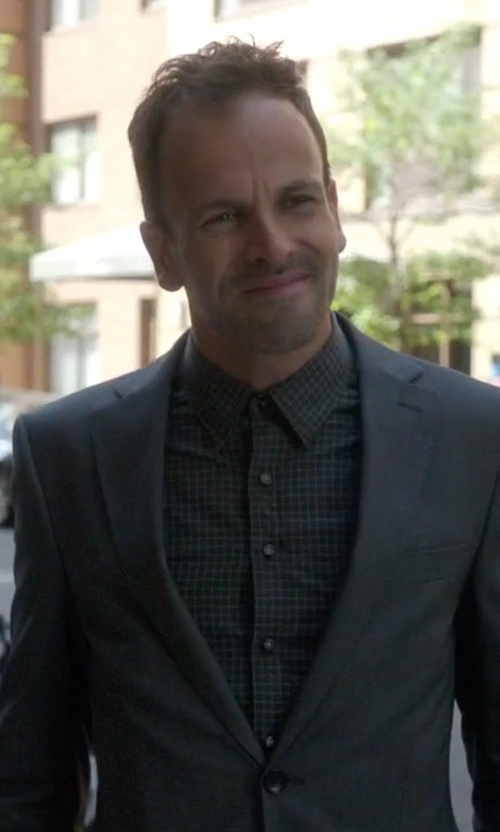Jonny Lee Miller with Cego Custom Made Slim Fit Check Shirt in Elementary