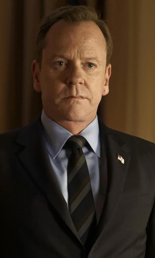 Kiefer Sutherland with Saks Fifth Avenue Collection Striped Silk/Cotton Tie in Designated Survivor
