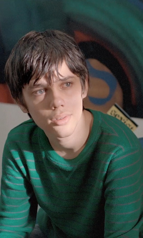 Ellar Coltrane with American Rag Wide Horizontal Striped Thermal Shirt in Boyhood