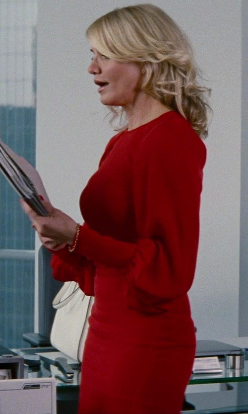 Cameron Diaz with Martin Grant Longsleeve Silk Dress in The Other Woman