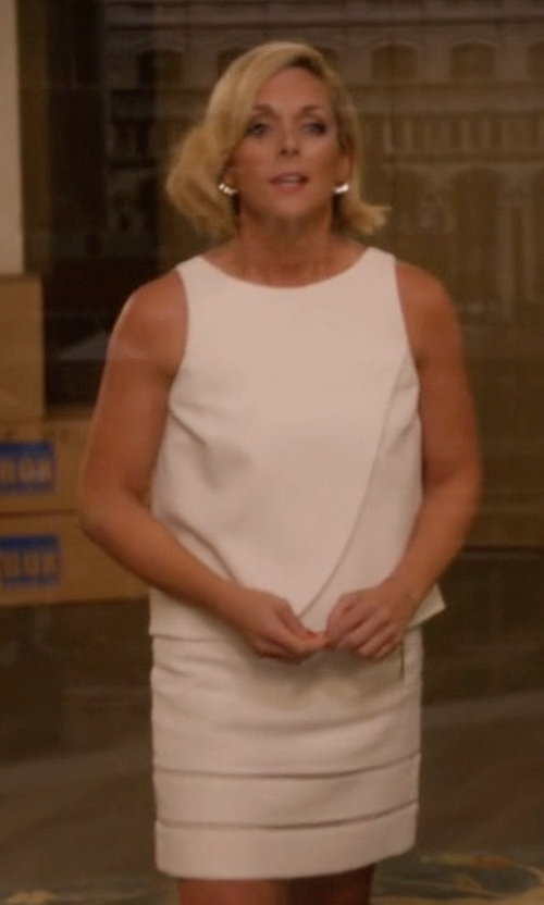 Jane Krakowski with Ivanka Trump Eyelet Popover Dress in Unbreakable Kimmy Schmidt