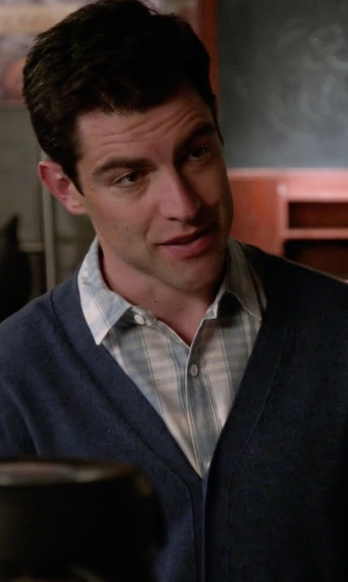 Max Greenfield with Theory Silk & Cashmere Button-Front Cardigan in New Girl