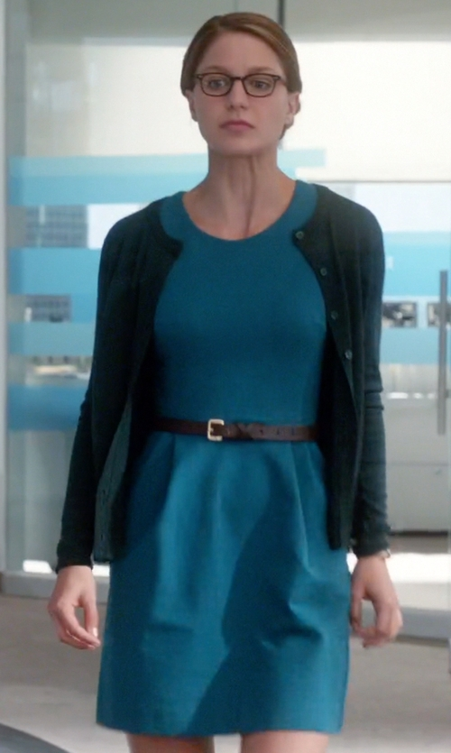 Melissa Benoist with Kut From The Kloth Sleeveless Ponte Knit Sheath Dress in Supergirl