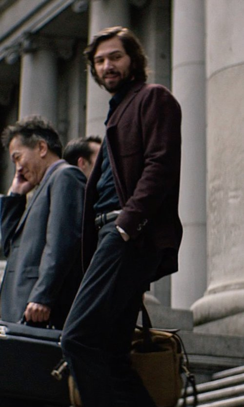 Michiel Huisman with Armani Collezioni Textured Solid Dress Shirt in The Age of Adaline