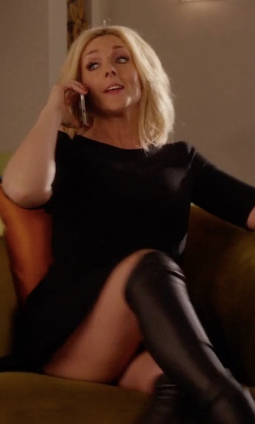 Jane Krakowski with Halston Heritage Jewel-Neck Fit-&-Flare Dress in Unbreakable Kimmy Schmidt