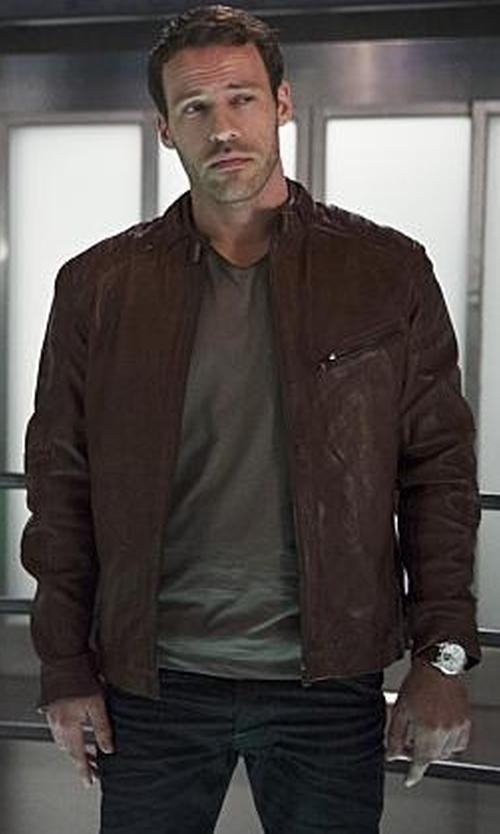 Falk Hentschel with Danier Blackburn Lamb Leather Moto Jacket in The Flash