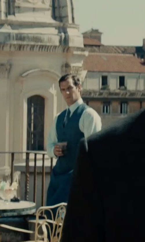 Henry Cavill with Zanella 'Devon' Flat Front Plaid Wool Trousers in The Man from U.N.C.L.E.