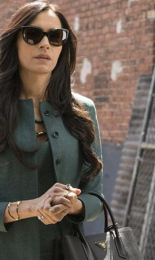 Famke Janssen with Prada Saffiano Cuir Small Tote Bag in The Blacklist
