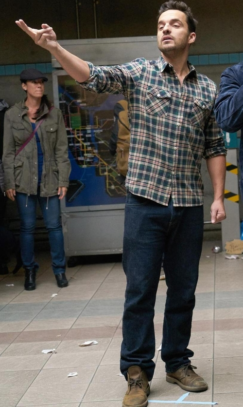 Jake Johnson with John Varvatos  Dylan Bound Suede Chukka Boots in New Girl