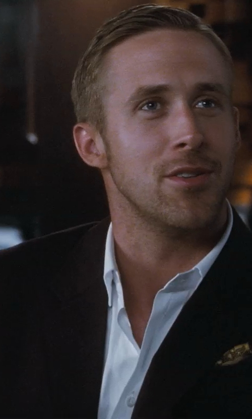 Ryan Gosling with Saks Fifth Avenue BLACK Silk Twill Pocket Square in Crazy, Stupid, Love.