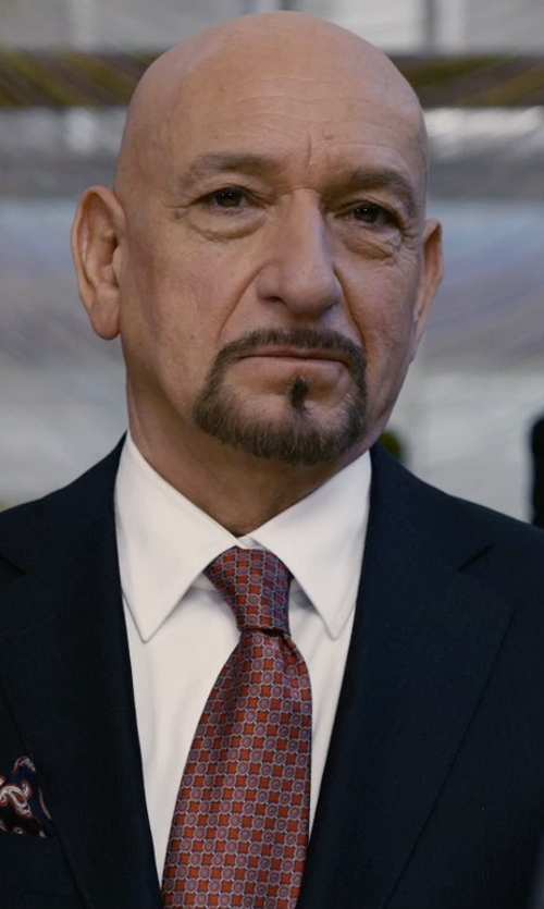 Ben Kingsley with Boss Spread Collar Cotton Dress Shirt in Self/Less