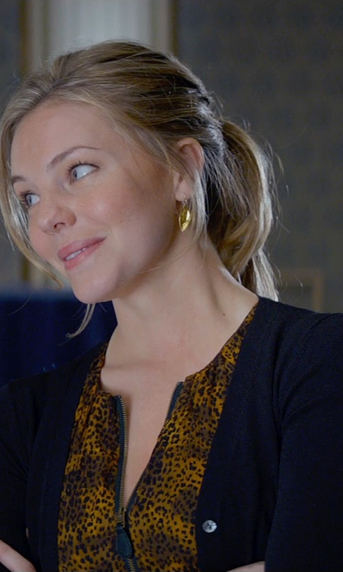 Eloise Mumford with Gabrielle Sanchez Yellow Gold Champagne Citrine Dangle Earrings in Fifty Shades of Grey