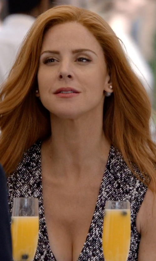 Sarah Rafferty with Adriana Orsini Decadence Pavé Crystal Ball Two-Sided Earrings in Suits
