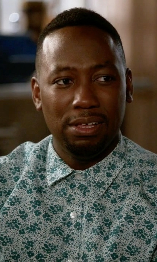 Lamorne Morris with Topman Slim Fit Short Sleeve Floral Print Shirt in New Girl
