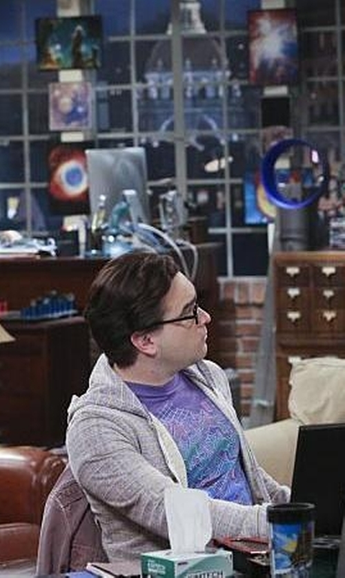 Johnny Galecki with Barbour Printed Cotton Knit T-Shirt in The Big Bang Theory