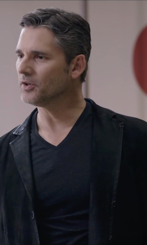 Eric Bana with Lands' End Dress Code Washable Wool Blend Coat in Special Correspondents