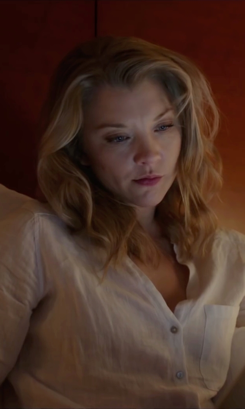 Natalie Dormer with Loft Collarless Utility Blouse in The Forest