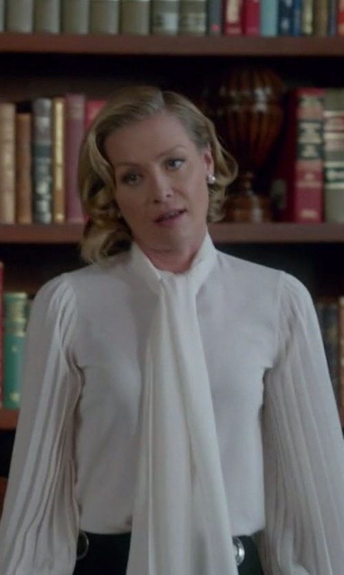 Portia de Rossi with Alexander McQueen Pussy Bow  Blouse in Scandal