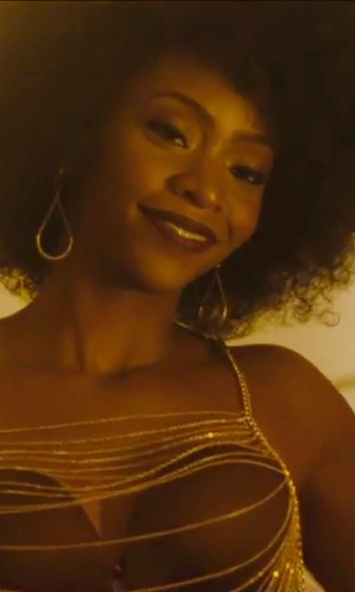 Teyonah Parris with Rose Gal Curtain Pattern Body Chain in Chi-Raq
