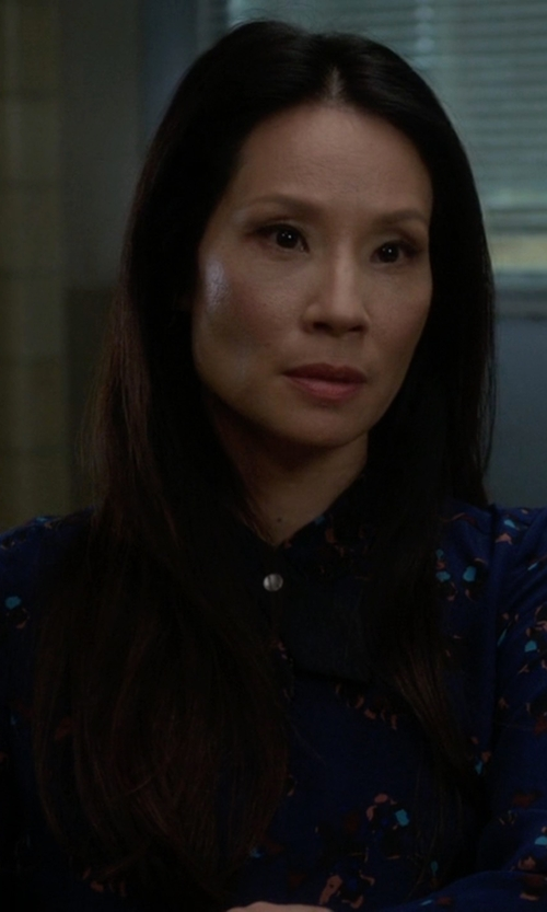Lucy Liu with Rebecca Taylor Pinwheel Posey Top in Elementary