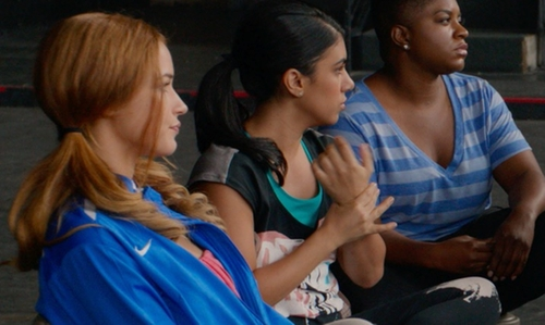 Chrissie Fit with Nike Compression Sports Bra in Pitch Perfect 2