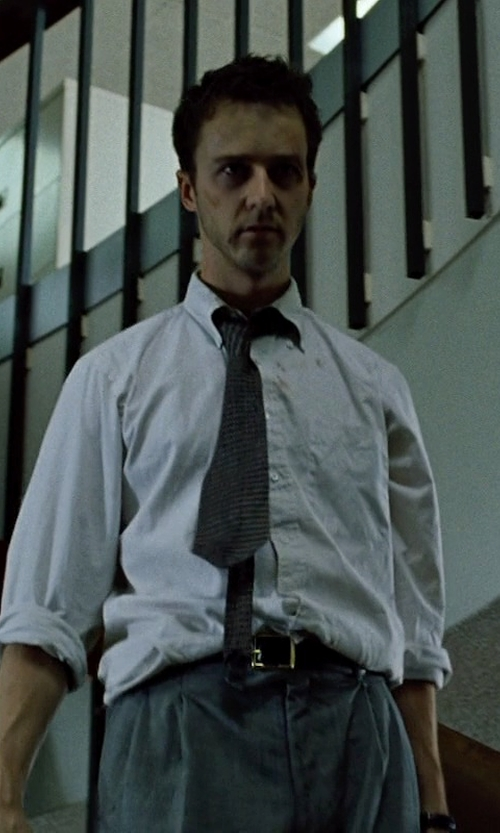 Edward Norton with Yves Saint Laurent Woven Silk Tie in Fight Club