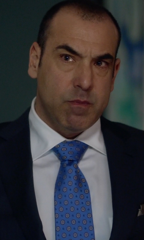 Rick Hoffman with Canali White Pique Cotton Point Collar Dress Shirt in Suits