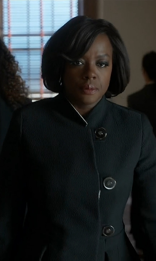 Viola Davis with Armani Wool Winter Jacket in How To Get Away With Murder