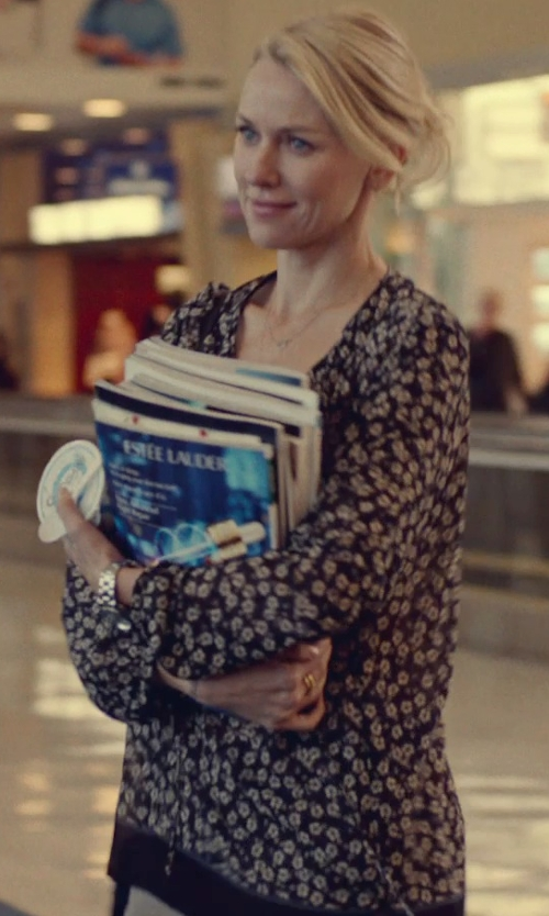 Naomi Watts with Rachel Comey Silk Floral Long Sleeve Blouse in While We're Young