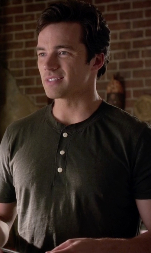 Ian Harding with J.Crew Slim Broken In Short Sleeve Henley Shirt in Pretty Little Liars