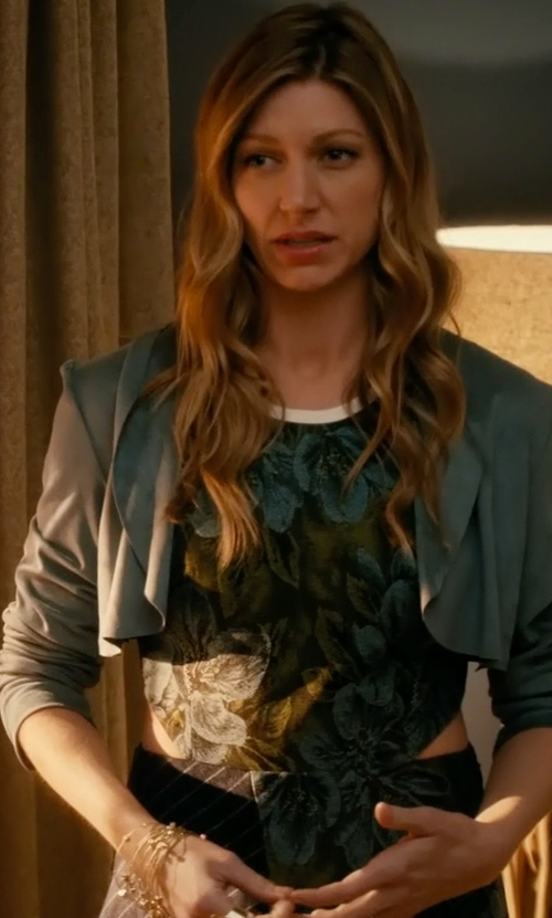 Jes Macallan with 3.1 Phillip Lim Cascading Ruffle Floral Dress in Mistresses