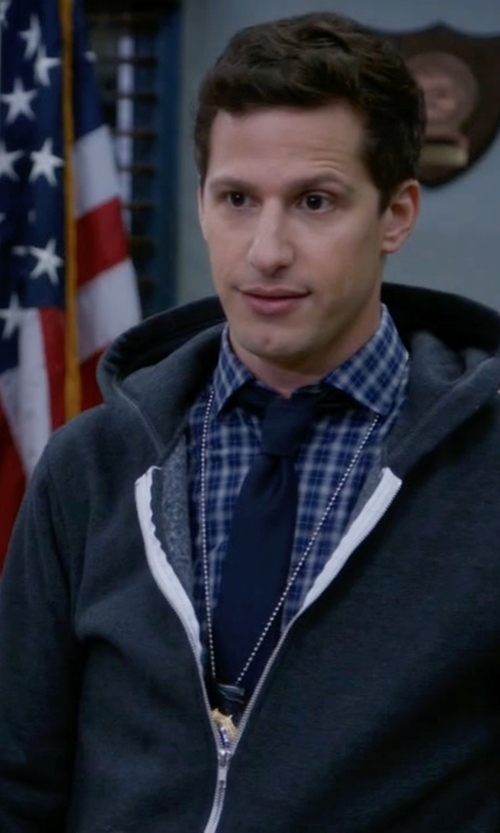 Andy Samberg with Finamore Windowpane-Plaid Shirt in Brooklyn Nine-Nine